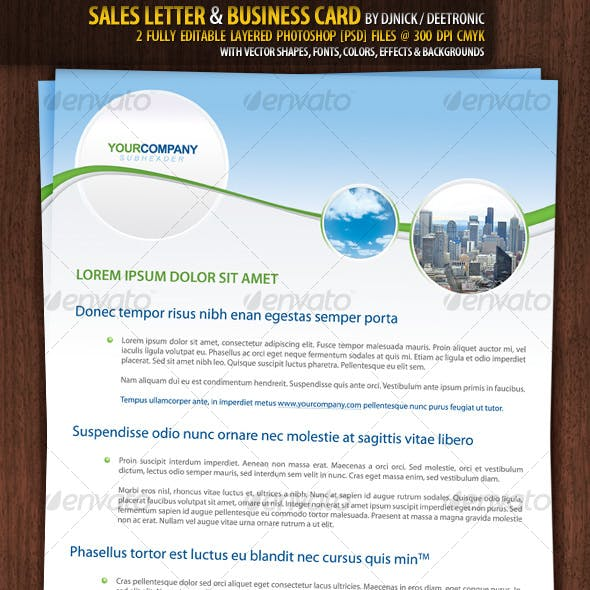 Sales Letter & Business Card - Realestate style