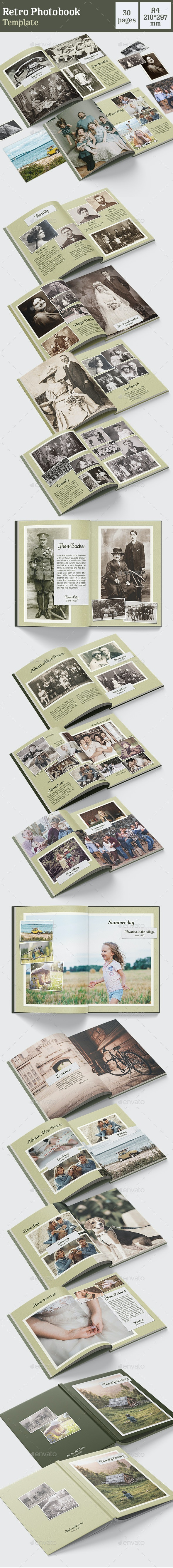 Retro Photo Book Template - Photo Albums Print Templates