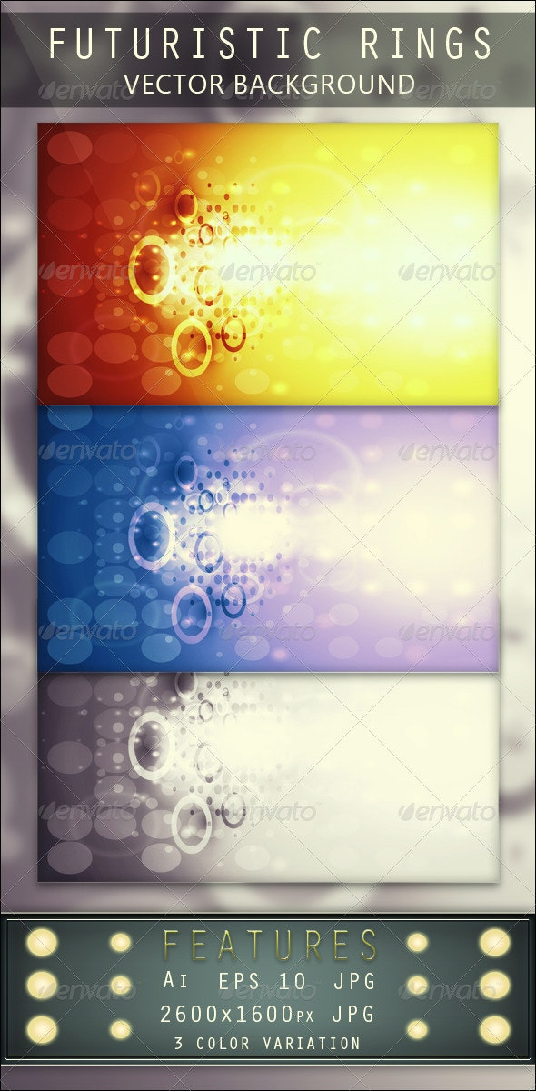 Futuristic Rings Vector Background - Backgrounds Decorative