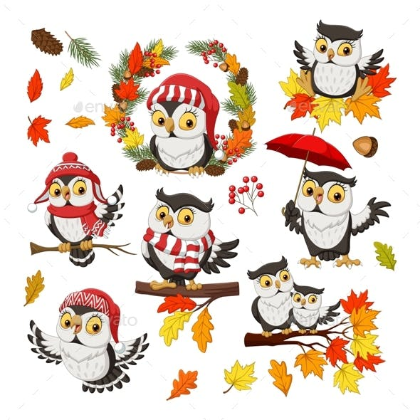 Owl Fall Autumn Set