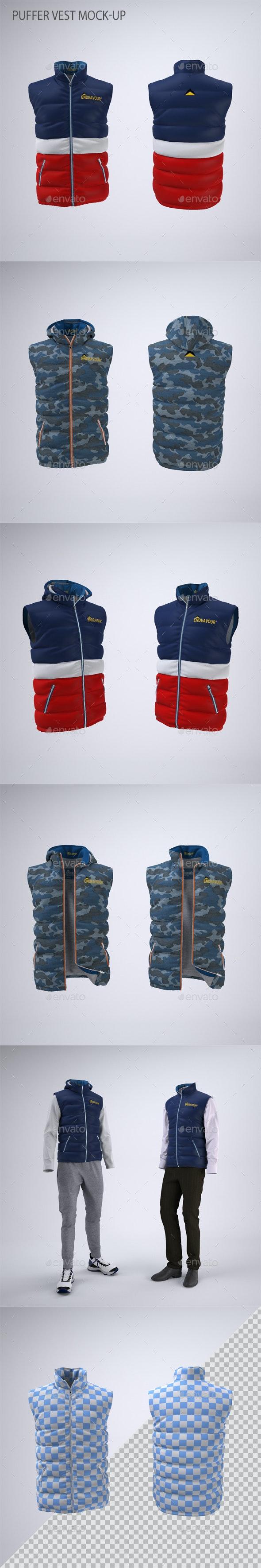 Puffer Vest or Gilet Jacket Mock-up - Apparel Product Mock-Ups
