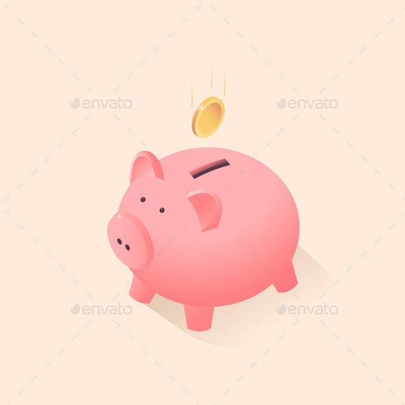 Flat Pink Piggy Box - Concepts Business
