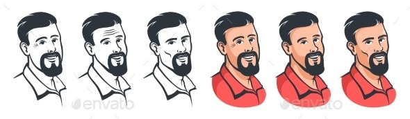 Bearded Man Face Set in Retro Style - People Characters