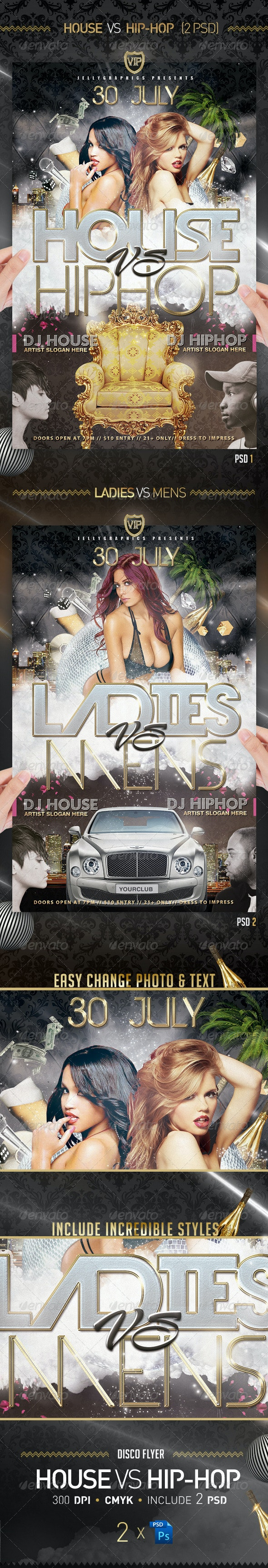 House VS Hip Hop Flyer Party Template - Flyers Print Templates