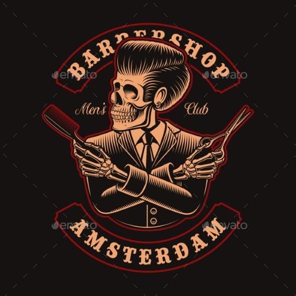 Vector Illustration of Barber Skeletone with