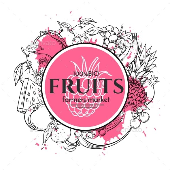 Poster Template with Hand Drawn Fruits