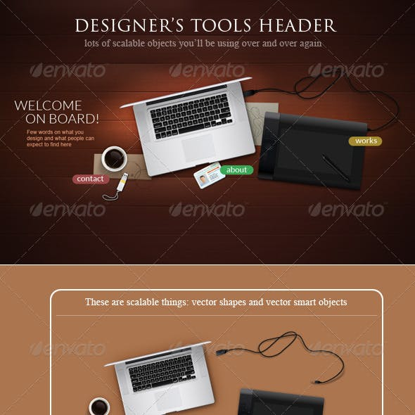 Designer Tools Web Header Concept