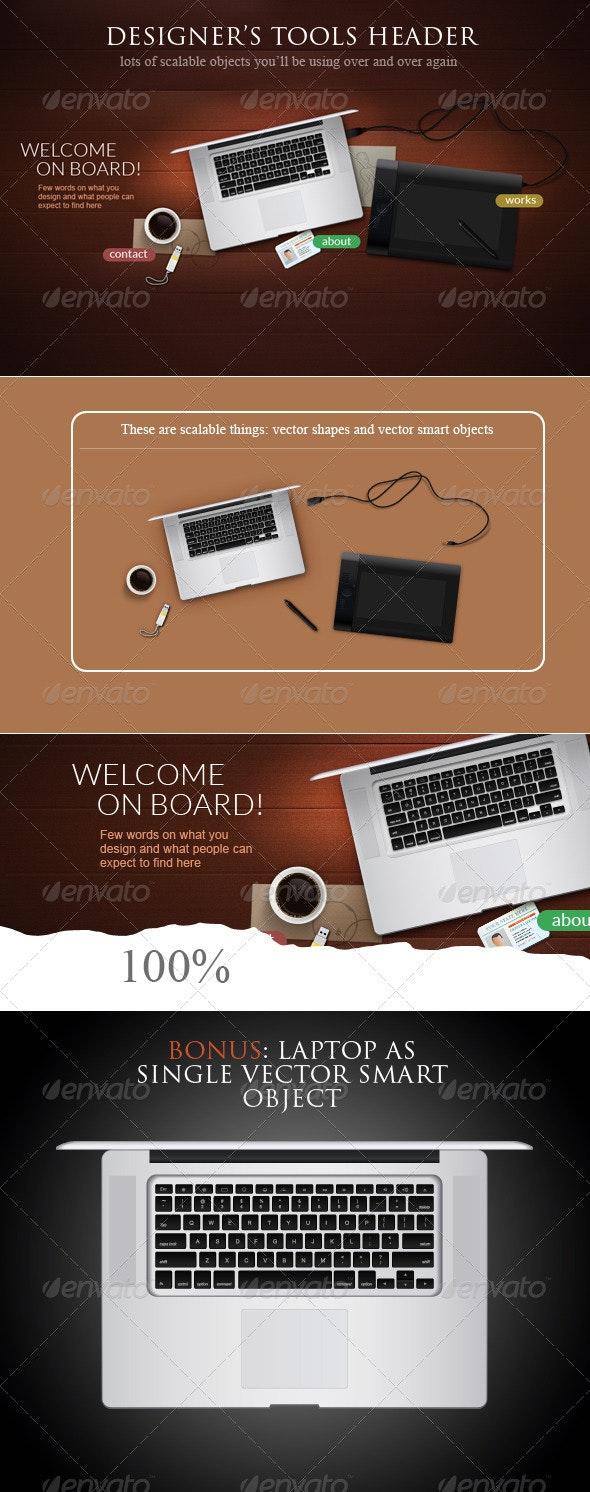 Designer Tools Web Header Concept - Miscellaneous Product Mock-Ups
