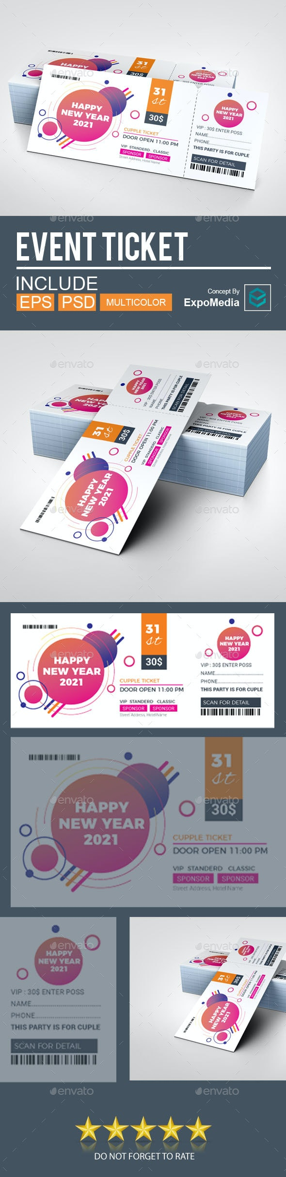 Event Ticket | Ticket Template 2021 New Year - Cards & Invites Print Templates