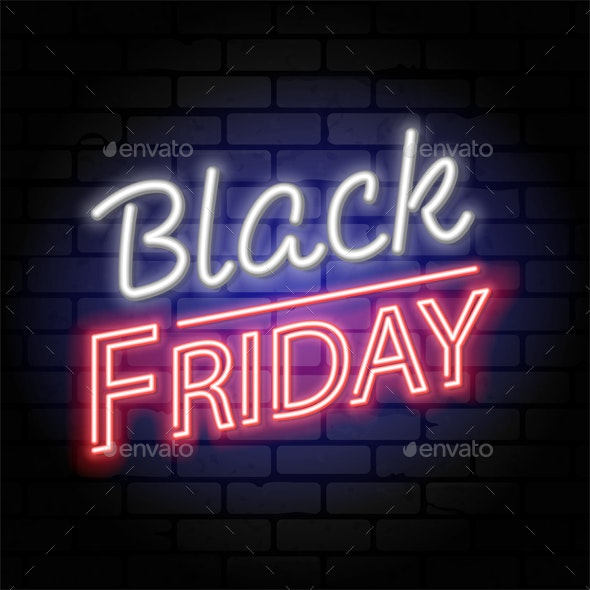 Black Friday Sale Neon Signboard - Retail Commercial / Shopping