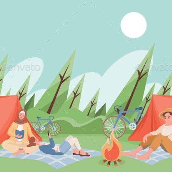 Friends at Summer Camping Spending Time Together