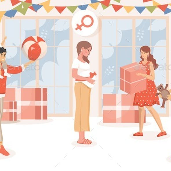 Baby Shower Party Vector Flat Illustration