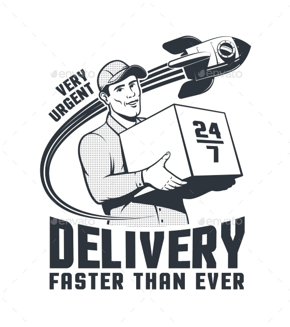 Delivery Man Courier Retro Logo with Rocket - Man-made Objects Objects