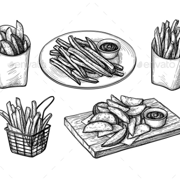 Ink Sketch of Fried Potatoes