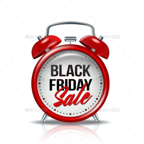 Black Friday Inscription on Realistic Red Alarm