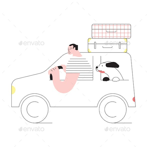 Man and Dog Traveling by Car