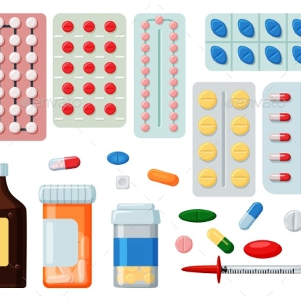 Pharmaceutical Tablet Pill and Liquid Icon Set