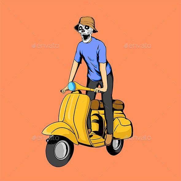 Skull Scooter Vector