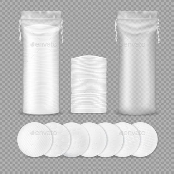 Cotton Pads Isolated Realistic Mockup