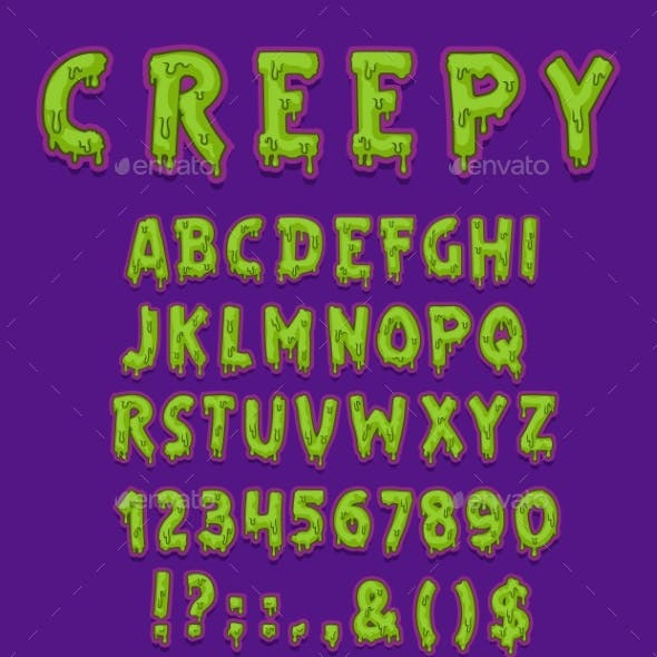 Creepy Halloween Font of Green Slime Letter Type