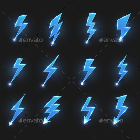 Lightnings Icons Isolated Vector Zigzag Arrows Set