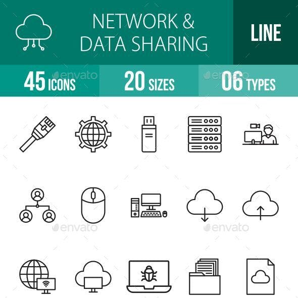 Network and Data Sharing Line Icons