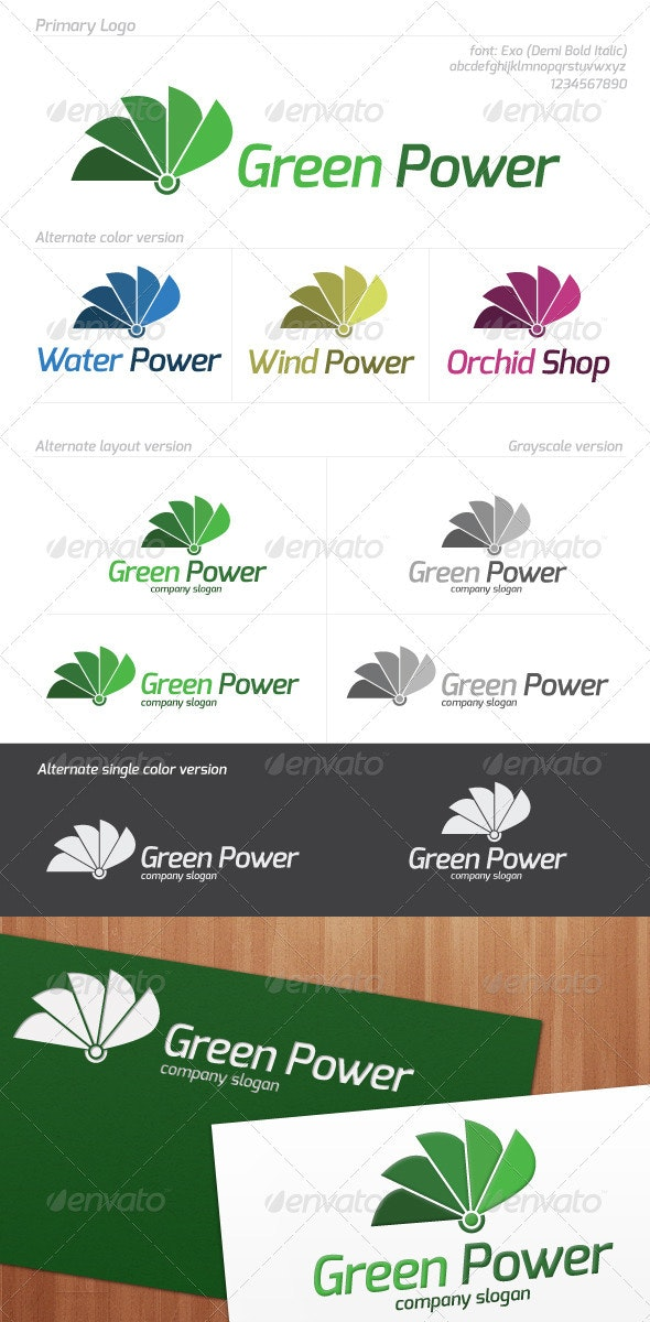 Green Power Logo - Nature Logo Templates