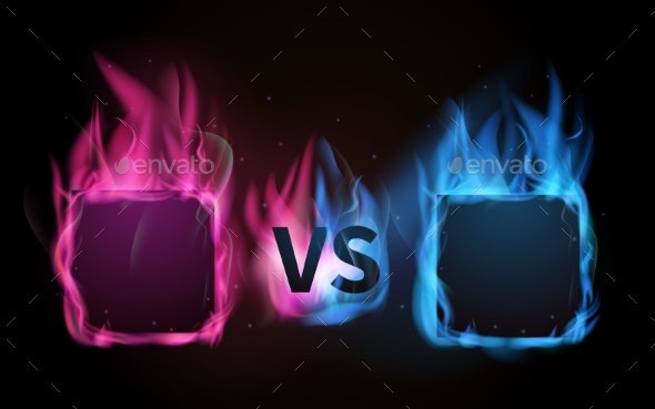 Glowing Versus Screen. Pink Vs Blue, Confrontation - Objects Vectors
