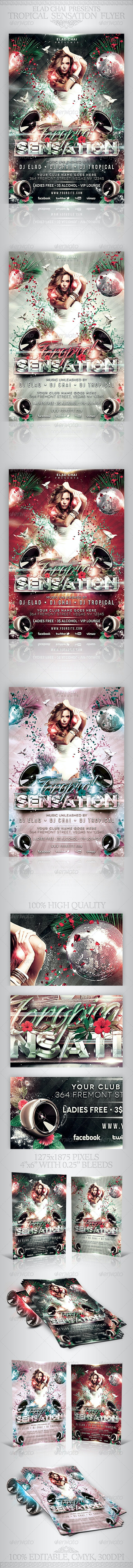 Tropical Sensation Party Flyer Template - Clubs & Parties Events