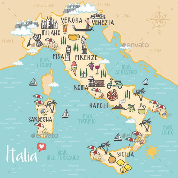 Italy - Illustrated Map