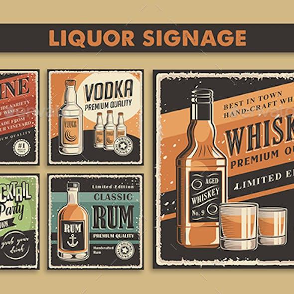Wine, Whiskey, Rum, Vodka, Cocktail Retro Poster Set