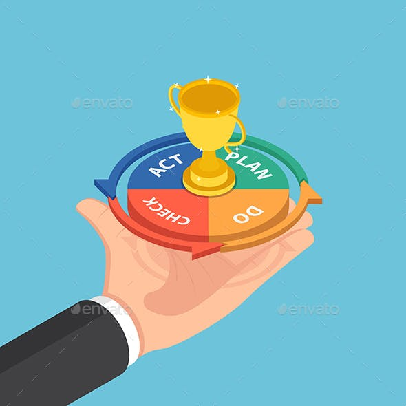 Isometric Businessman Hand Holding Plan Do Check Act Cycle with Success Trophy