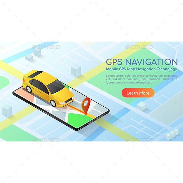 Isometric Web Banner Car with Gps Map Navigation Application on Smartphone