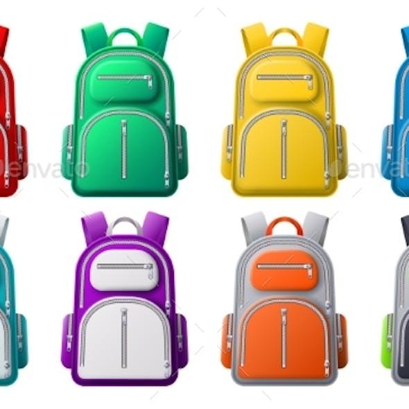 Color Sport Backpack Mockup Different Colors