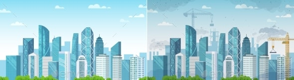 Clean and Polluted City - Buildings Objects