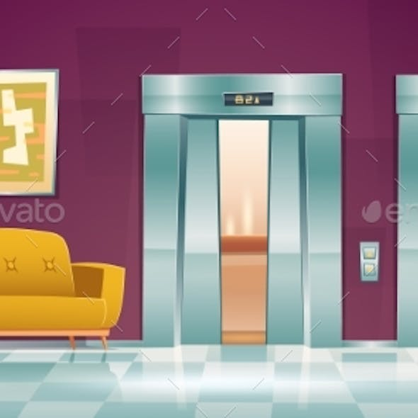 Hallway with Lift Doors and Empty Lobby with Couch