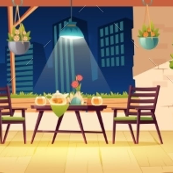 Summer Terrace, Night Outdoor Modern City Cafe