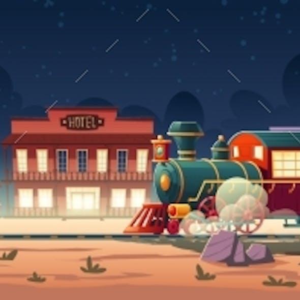 Wild West Steam Train at Night Western Town Vector