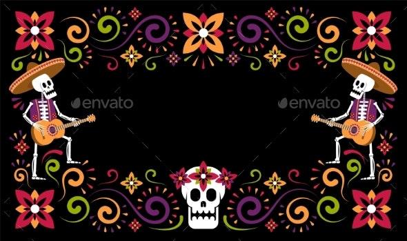 Dia De Muertos Mexican Halloween Floral Flyer - Flowers & Plants Nature