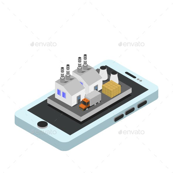 Industry On Isometric Smartphone