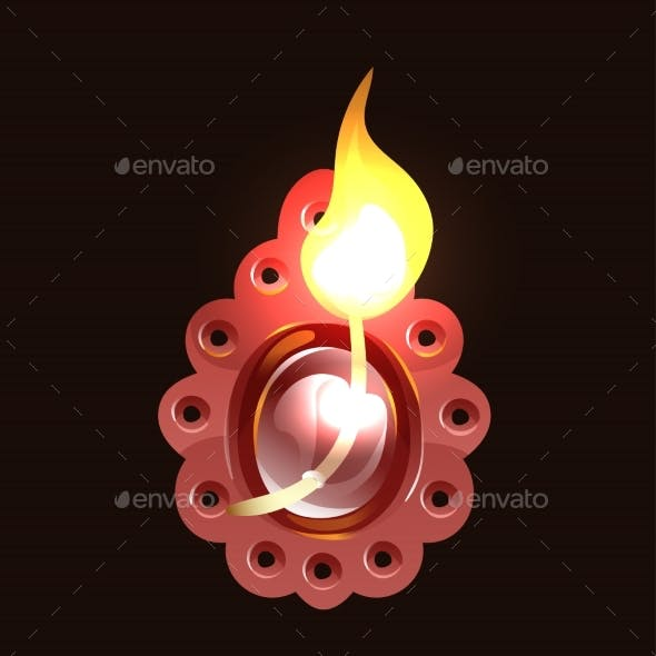 Burning Wick in Clay Indian Diya Diwali Holiday
