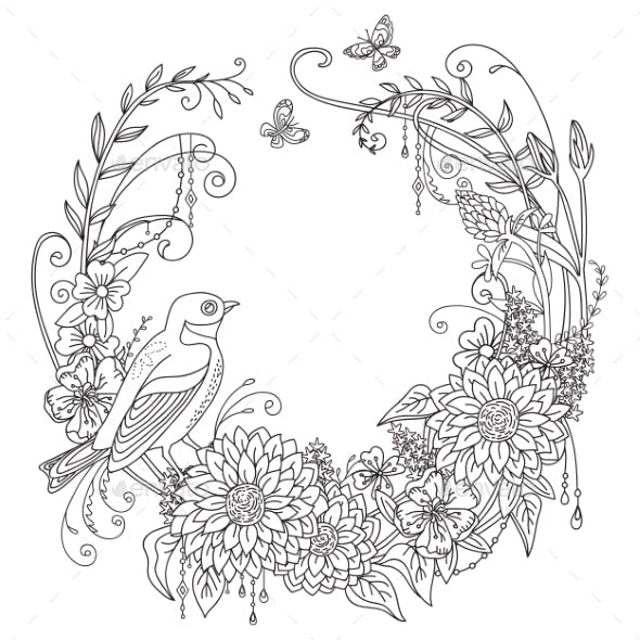 Coloring Flowers and Birds 9