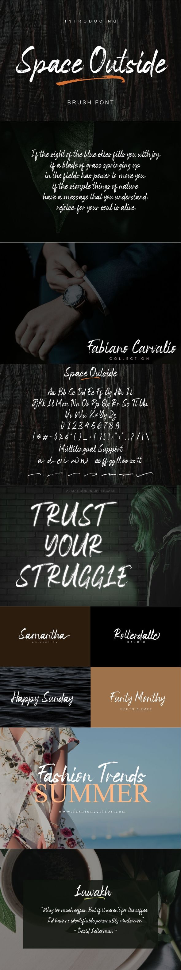 Space Outside Brush Font - Hand-writing Script