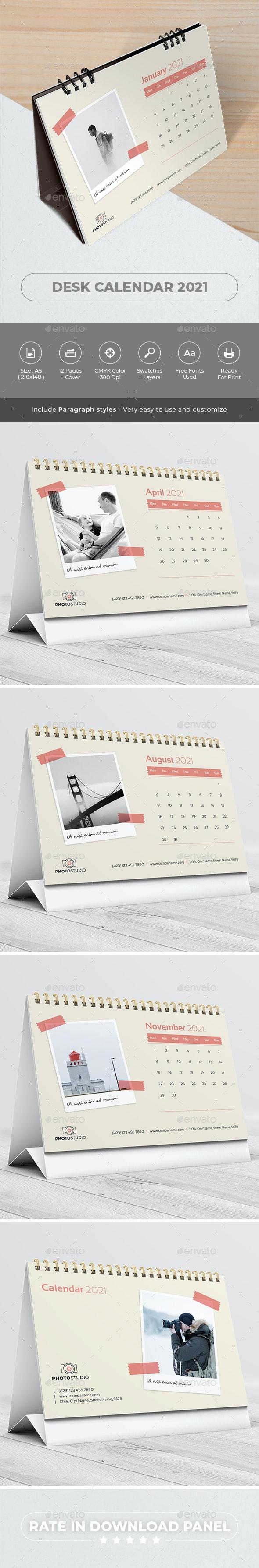 Desk Calendar 2021. Polaroid Photo - Calendars Stationery
