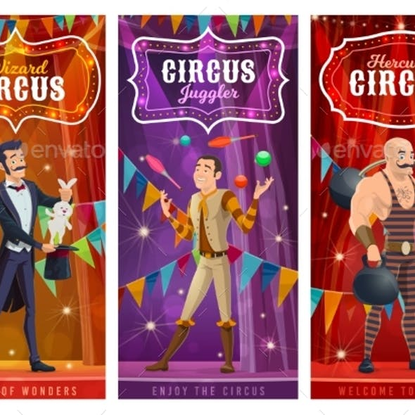 Circus Performers Vector Banners, Big Top Artists