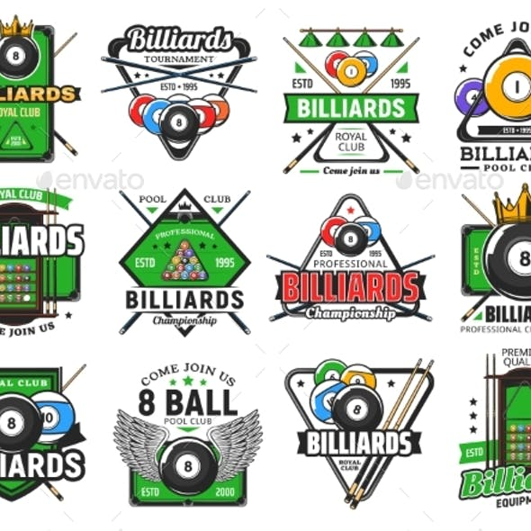 Billiards Pool Game, Snooker Sport Club Icons