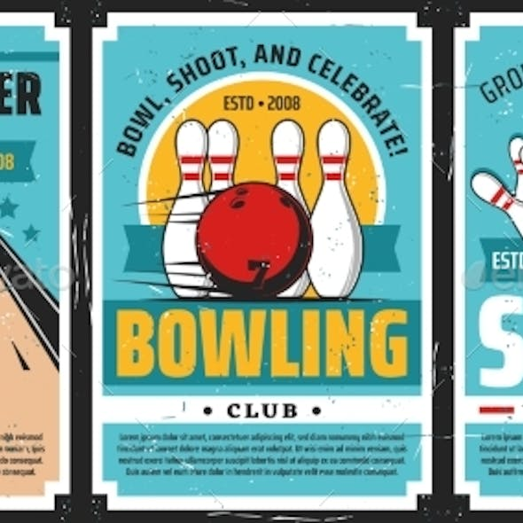 Bowling Club Posters, Ball and Pin Strike Sport