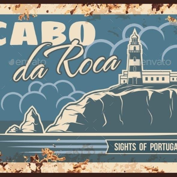 Cabo Da Roca Rusty Metal Plate, Portugal Landmark