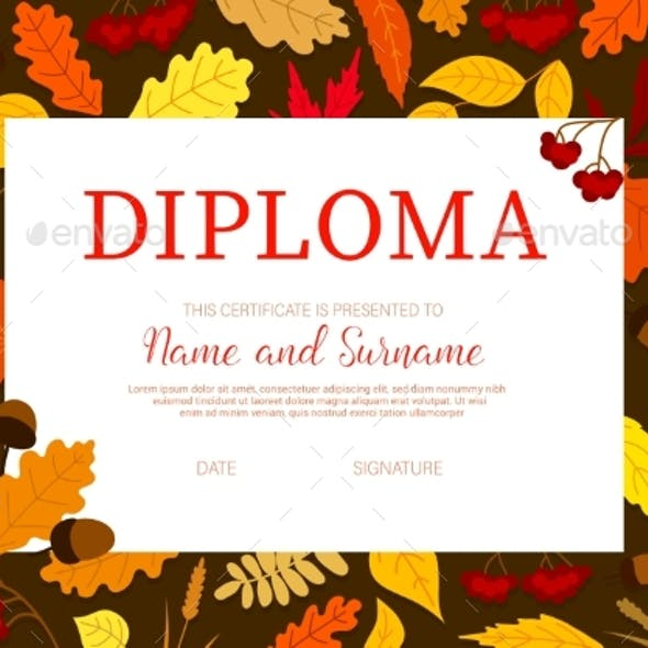 School Diploma with Autumn Leaves, Certificate
