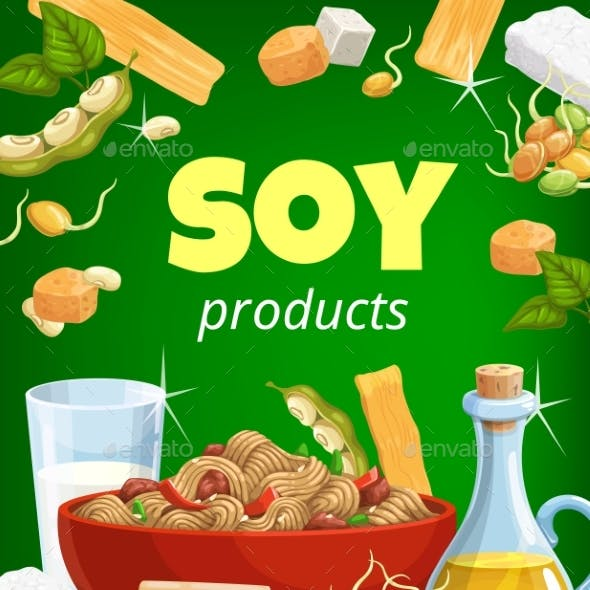 Soy Food and Soybean Products Cartoon Poster.